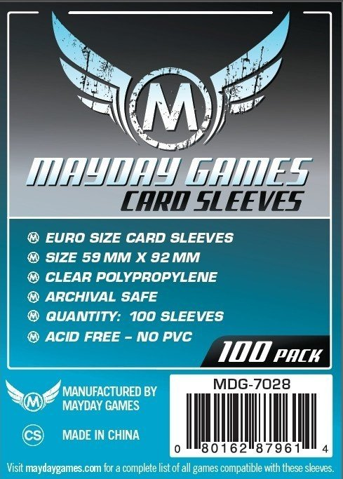 Card Sleeves - Mayday Games 59 mm x 92 mm