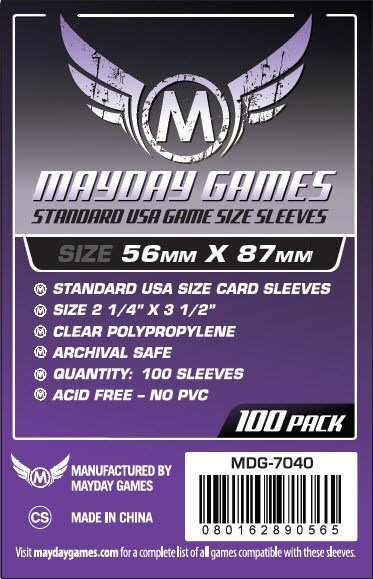 Standard USA Game Size Sleeves - Mayday Games 56 mm x 87 mm
